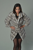 Luxury gift/Silver blue Mink Full skin Fur coat/Fur jacket/Hooded/Wedding,or ann - $1,300.00