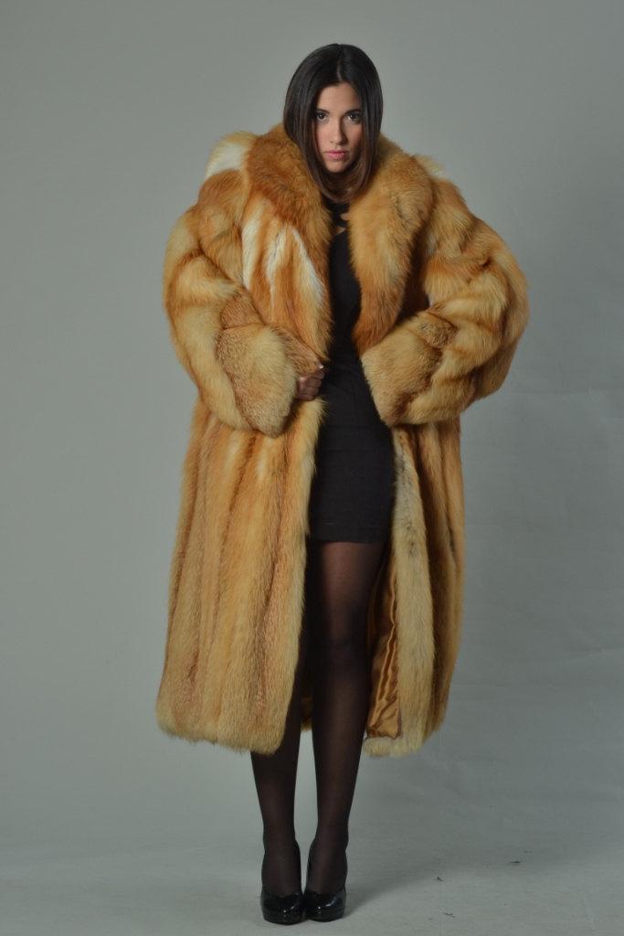 Luxury gift/Red Fox Fur Coat/Fur jacket/ Women's Knee Length/ Wedding,or anniver