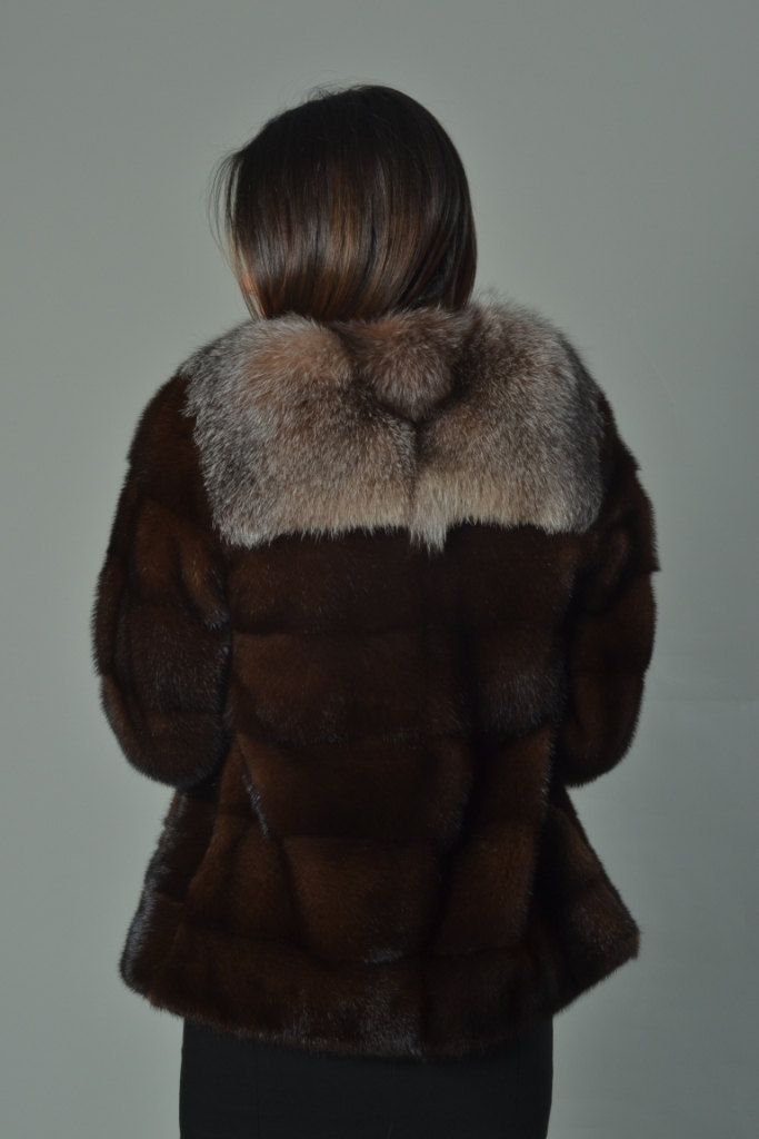 Luxury gift/ Mahogany Mink fur coat/Fur jacket Full Skin with Crystal fox collar image 4