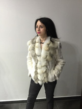 Luxury gift/ Golden mink fur coat/ Fur jacket with fox collar/ Wedding,o... - $457.00