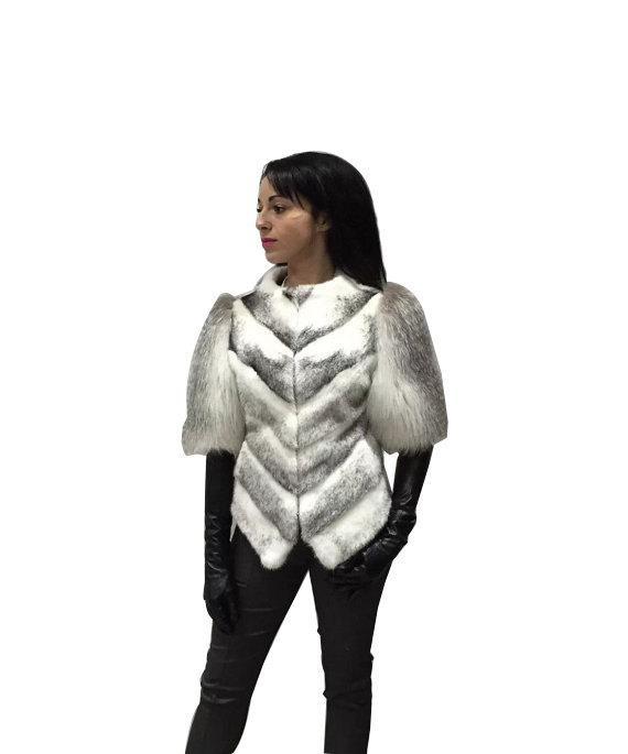 Luxury gift / Mink fur coat Full skin Black Cross with fox fur sleeves / Wedding