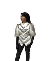Luxury gift / Mink fur coat Full skin Black Cross with fox fur sleeves /... - $1,184.00