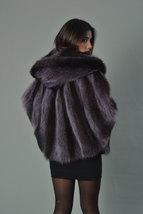 Luxury gift/Purple Raccoon Fur Capefur coat/Fur jacket/ Full Skin with hood/ Wed image 4