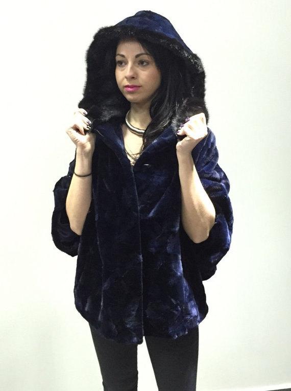 Luxury gift/ Mink fur Cape Black Collar hood/ Wedding,or anniversary present/ ho