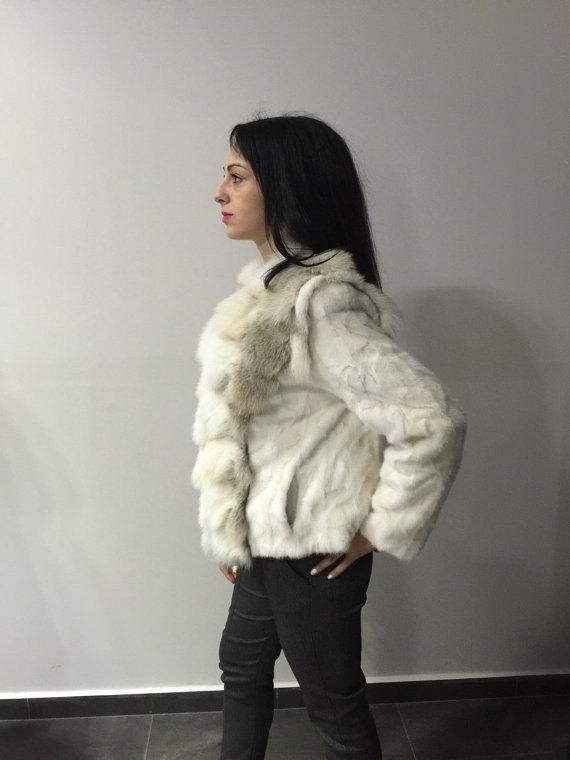 Luxury gift/ Golden mink fur coat/ Fur jacket with fox collar/ Wedding,or annive image 2