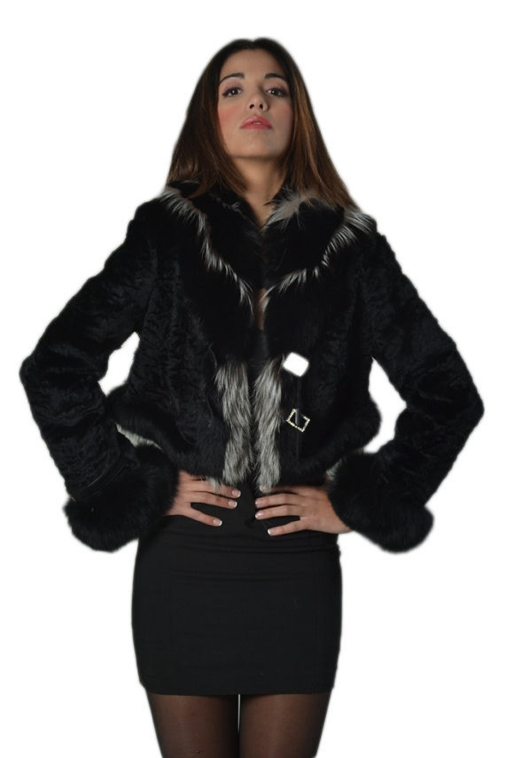 Luxury gift/Black Persian Lamb Coat with fox cuffs and collar / Wedding,or anniv image 4
