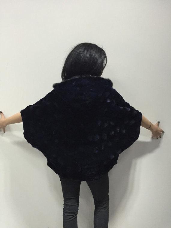 Luxury gift/ Mink fur Cape Black Collar hood/ Wedding,or anniversary present/ ho image 2