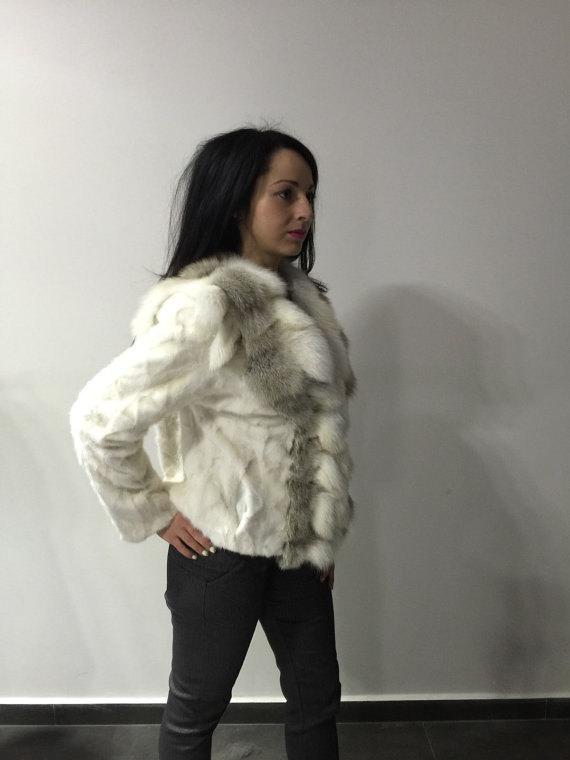 Luxury gift/ Golden mink fur coat/ Fur jacket with fox collar/ Wedding,or annive image 3