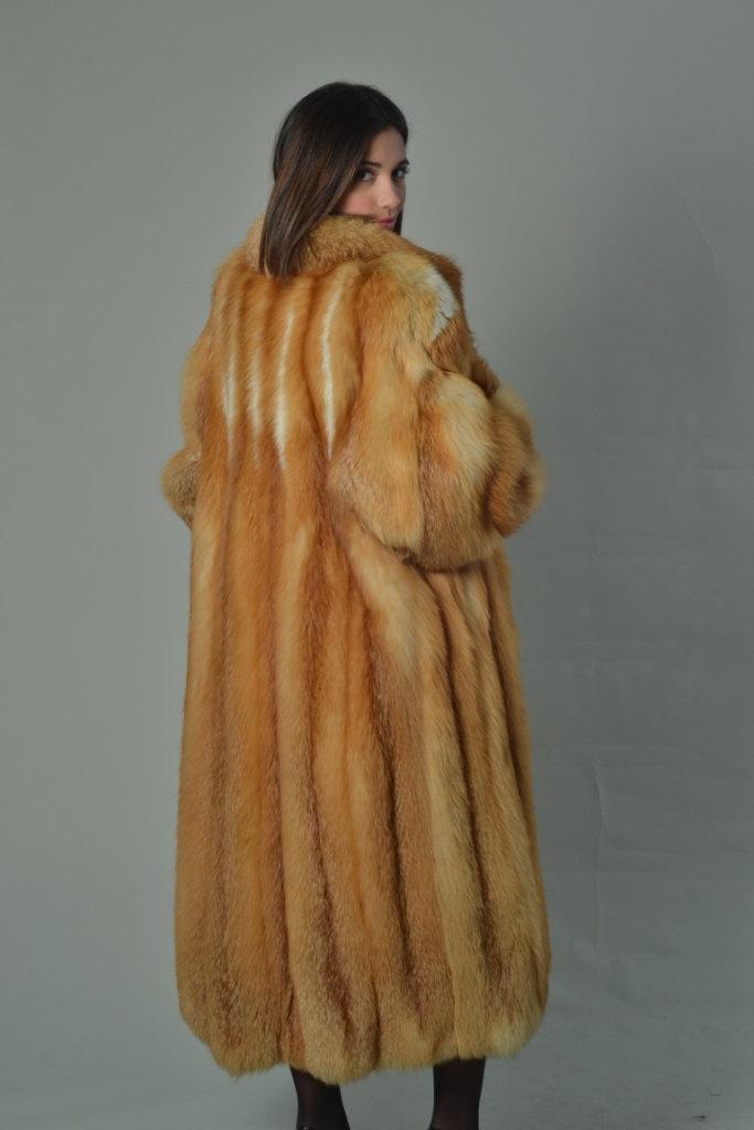 Luxury gift/Red Fox Fur Coat/Fur jacket/ Women's Knee Length/ Wedding,or anniver image 3