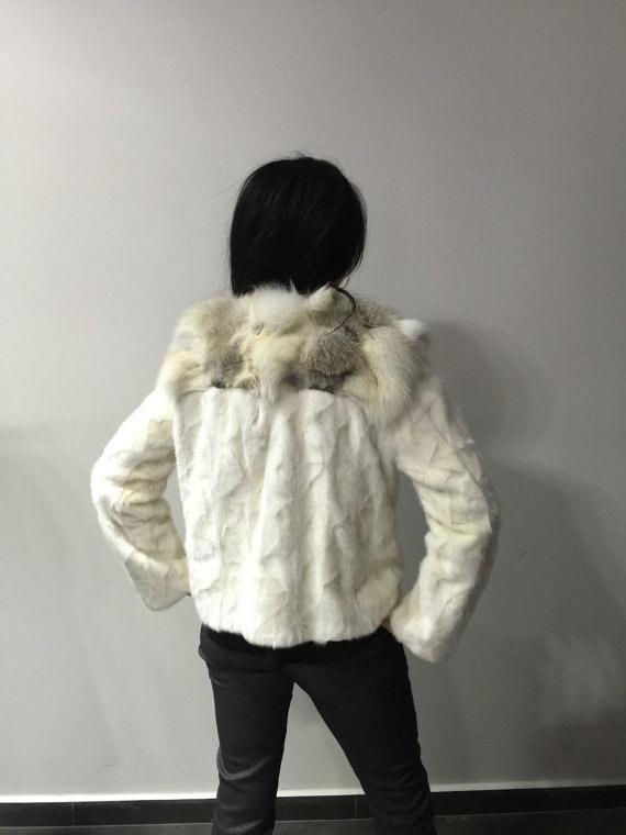 Luxury gift/ Golden mink fur coat/ Fur jacket with fox collar/ Wedding,or annive image 4