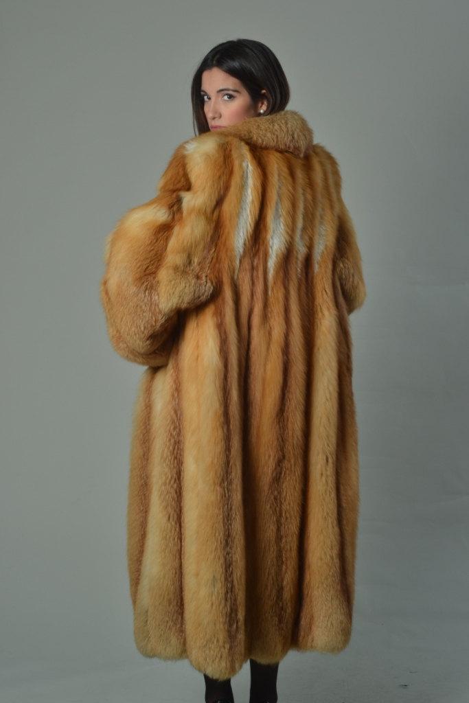 Luxury gift/Red Fox Fur Coat/Fur jacket/ Women's Knee Length/ Wedding,or anniver image 4