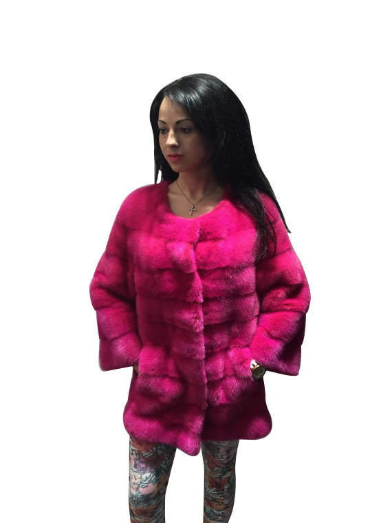 Luxury gift / Pink Mink fur coat/ Fur jacket Full skin / Wedding,or anniversary