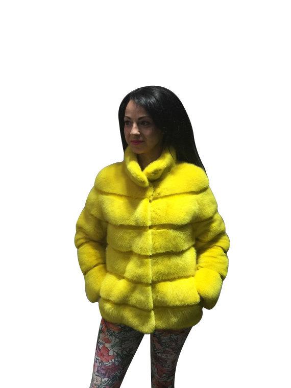 Luxury gift / Yellow Mink fur coat/ Fur jacket Full skin / Wedding,or anniversar