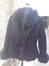 Luxury gift/ Sheared Black Beaver Fur Jacket/ Fur coat Fox Collar & Cuff... - $400.00