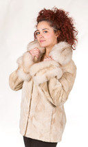 Luxury gift/Beige Beaver Fur Coat/Fur jacket/ Fox Collar Women's Dual Cu... - $490.00