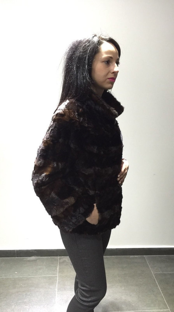 Luxury gift / sectional brown Mink fur coat / Fur jacket / Wedding,or anniversar image 4