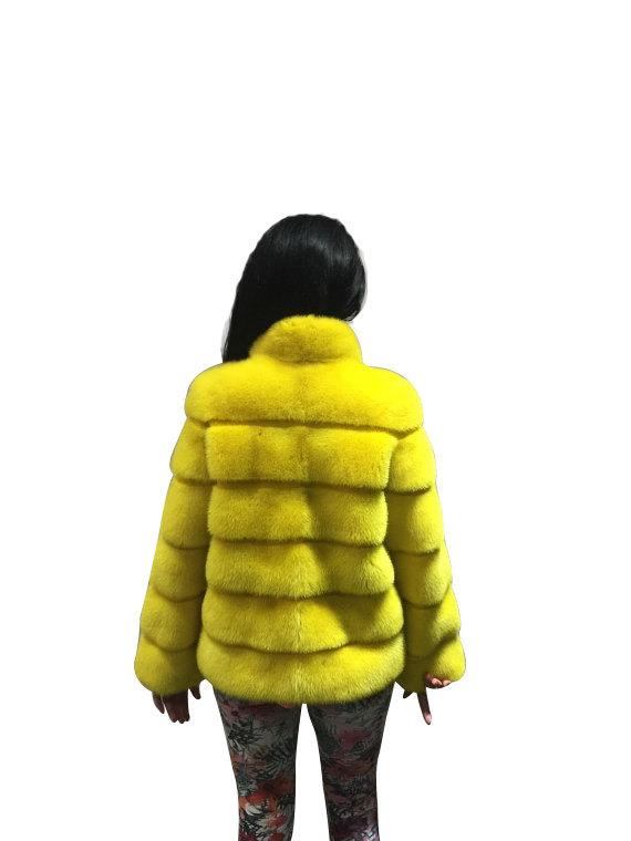 Luxury gift / Yellow Mink fur coat/ Fur jacket Full skin / Wedding,or anniversar image 4