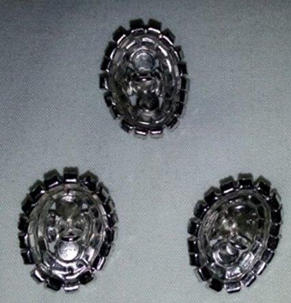 Vintage Blue Rhinestone Buttons - Set of 3