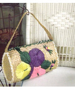 Natural Woven Straw Bag Colorful Vintage Beach ... - $23.76