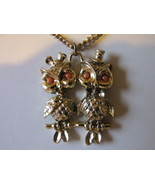 Retro / Vintage Kitschy Mr. & Mrs. Owl Pendant Necklace with Hair Bow & ... - £8.16 GBP