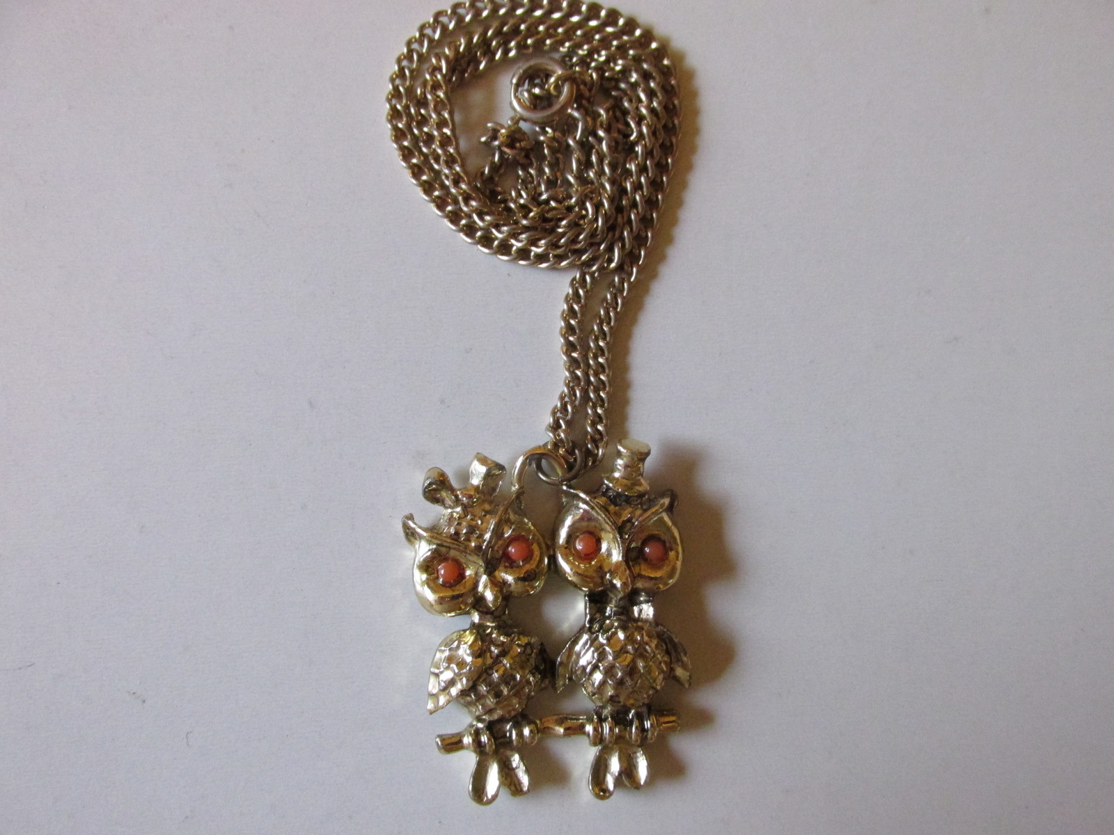 Retro / Vintage Kitschy Mr. & Mrs. Owl Pendant Necklace with Hair Bow & Top Hat
