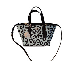 Authentic Coach 34334 Mini Crosby Carryall Ocelot Print Leather Pale Blu... - $158.39