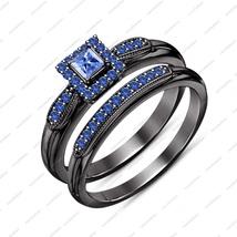 Black Rhodium Plated Bridal Engagement Wedding Ring Set Princess Blue Sapphire - $85.13