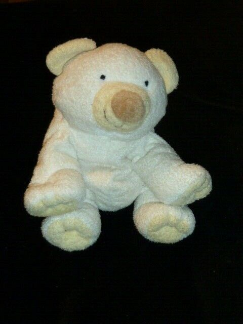 "Primary image for Ty Pluffies CLOUD white polar bear 2002 Rare Lovey 8"" Yellow Ear/paw Bean Bag"