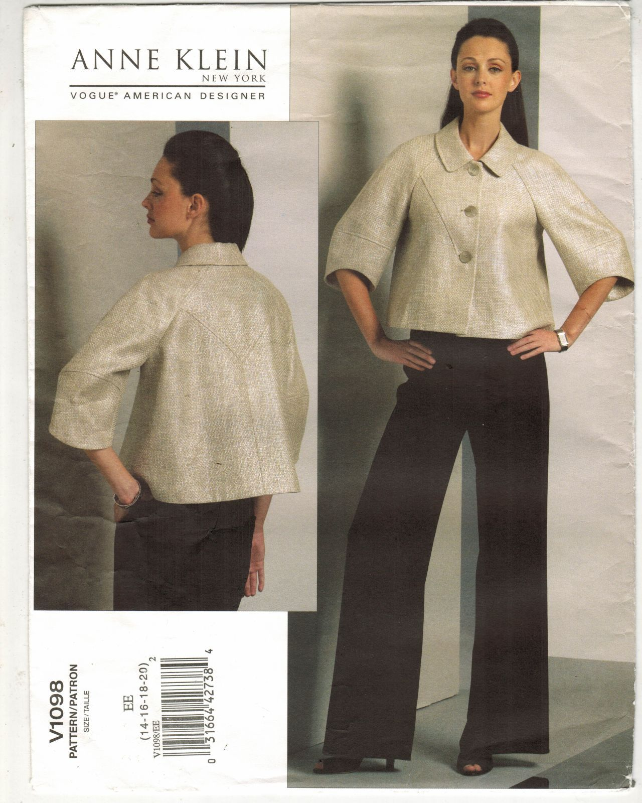 Primary image for Misses Vogue American Designer Anne Klein New York Jacket Pant Sew Pattern 14-20