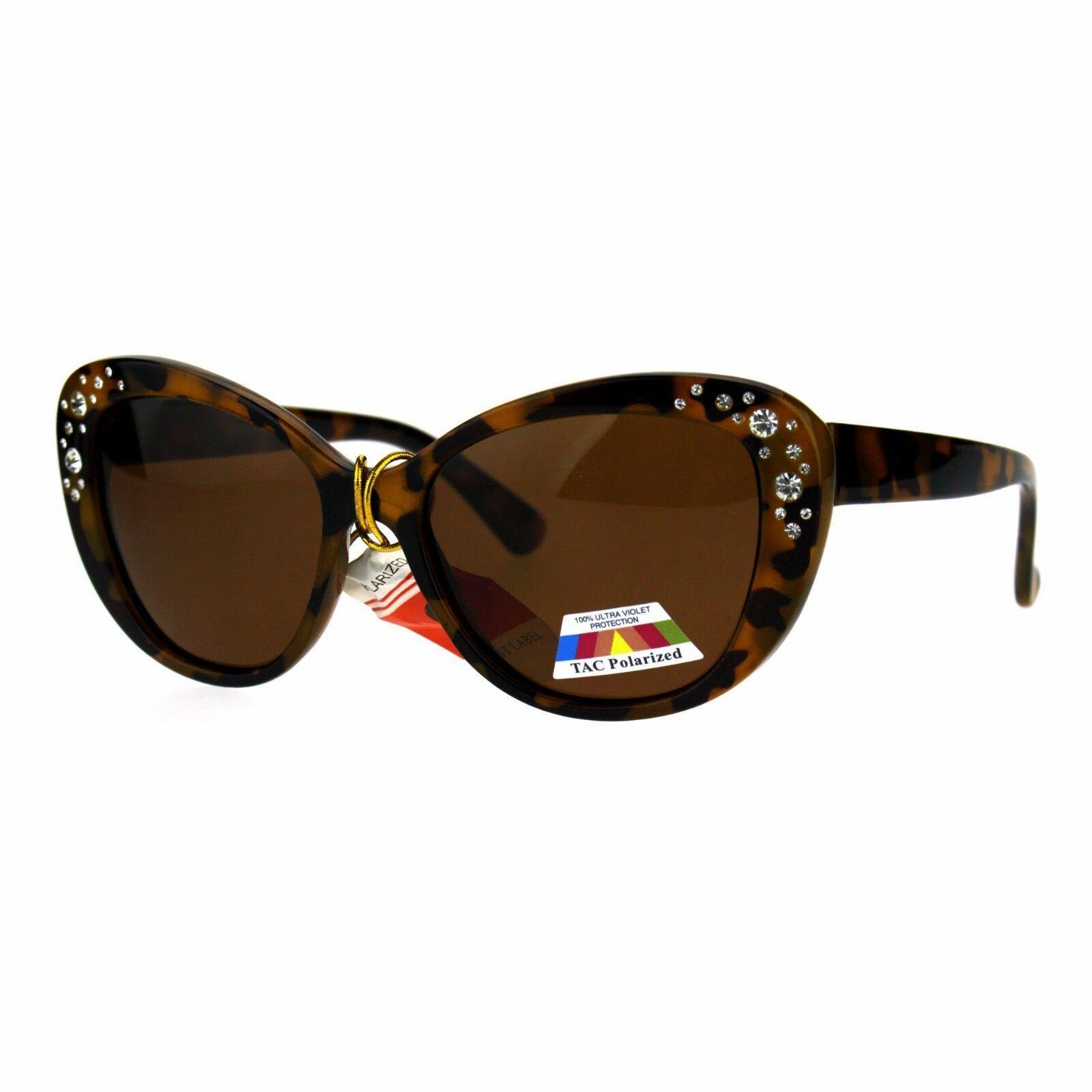 Womens Polarized Lens Sunglasses Rhinestone Design Cateye Butterfly Frame