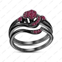 Rhodium FN Round Pink Sapphire Engagement Bridal Wedding Ring Set In 925 Silver - $74.81