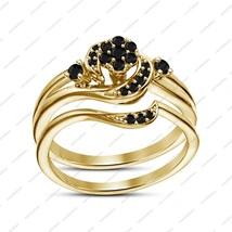 Black Sim Diamond 925 Silver Bridal Wedding Ring Set 14k Gold Plated 925 Silver - $73.09