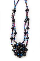 Handmade Guatemalan Black Cluster Pendant Mixed Glass Bead Necklace - $23.71