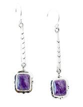 Charoite Silver Dangle Earrings - $106.92