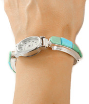 Women's Navajo Turquoise Inlay Toggle Watch Bracelet By David Rosales - €332,15 EUR