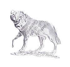 Sterling Silver Wolf Pin Brooch - $44.55