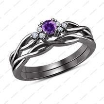 Unique Design Purple Amethyst Solid 925 Sterling Silver Bridal Wedding Ring Set - $74.81