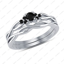 Women's Sterling 925 Silver Round Black CZ 14k White GP Bridal Wedding Ring Set - $84.99