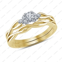 10k Yellow Gold Filled White CZ Bridal Engagement Wedding Ring Set In 925 Silver - $81.99