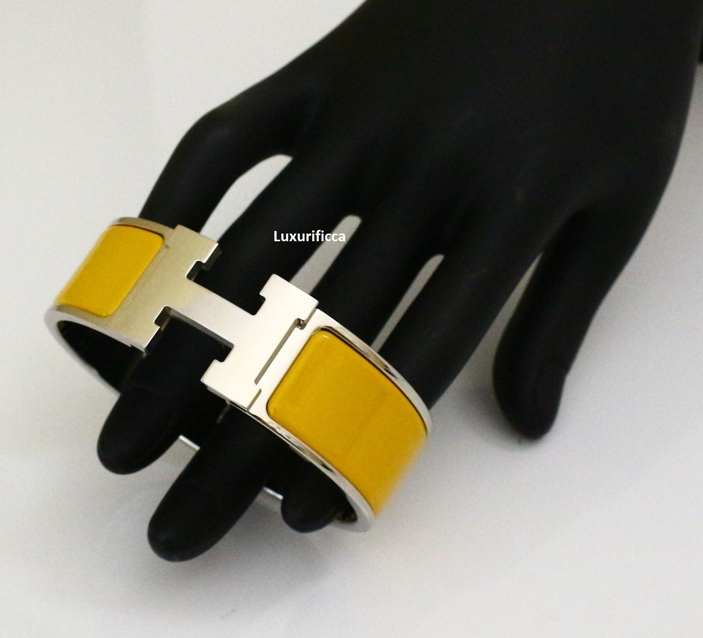 Authentic Hermes Click Clack Bangle Silver Plated Amp Enamel