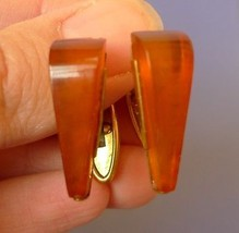 k28 Vintage USSR jewelry Cognac Baltic Amber CUFFLINKS Gold Plated marke... - $40.00