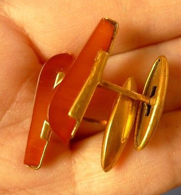 k28 Vintage USSR jewelry Cognac Baltic Amber CUFFLINKS Gold Plated marked YAK