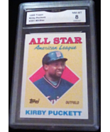 1988 Topps Kirby Puckett GMA Graded 8 NM-MT All-Star Baseball Card 391 Twins  - $6.99