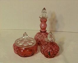 Vintage Fenton Cranberry 3 Piece Dresser Vanity Set: Powder Jar, Large and Sm... - $339.98