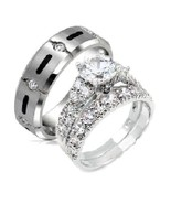 His & Hers 3 Piece Cz Stering Silver and Titani... - $59.99