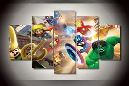 5 Pcs With Framed Printed lego marvel super heroes Group Painting Ready ... - $99.99