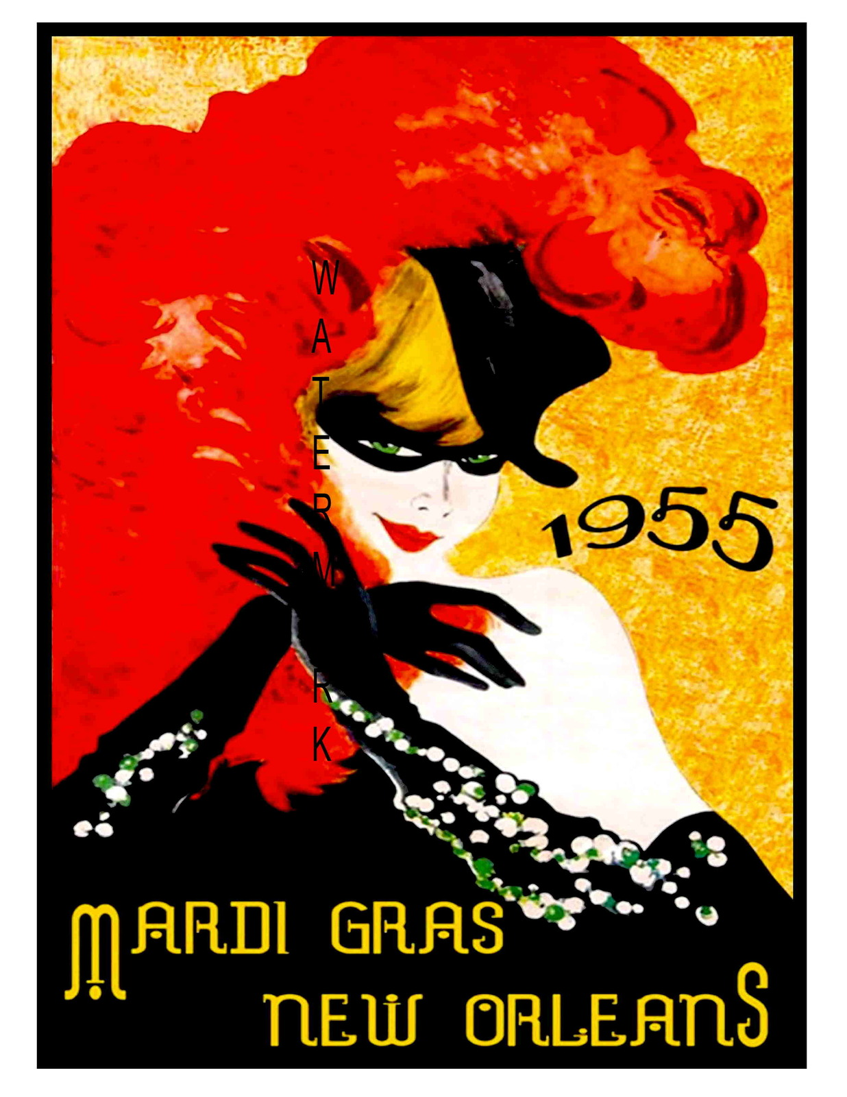 New Orleans Vintage 1955 Mardi Gras 13 x 10 in Advertising Giclee CANVAS Print