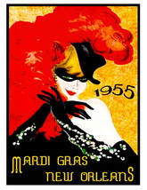 New Orleans Vintage 1955 Mardi Gras 13 x 10 in Advertising Giclee CANVAS... - $19.95