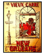 New Orleans Vintage Bourbon St. Mardi Gras 13 x 10 in Advert Giclee CANV... - $19.95