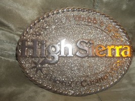 WOW Vintage Solid HIGH SIERRA Hotel Casino Roped Western Belt Buckle Rare - $39.59